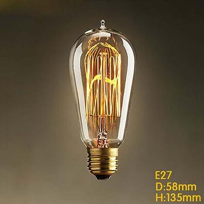 TY@ ampoule Edison Vintage Ampoule E27 industrie lampes ST58 pour la source de lumière de l'ampoule Lifestyle nostalgie, 25w