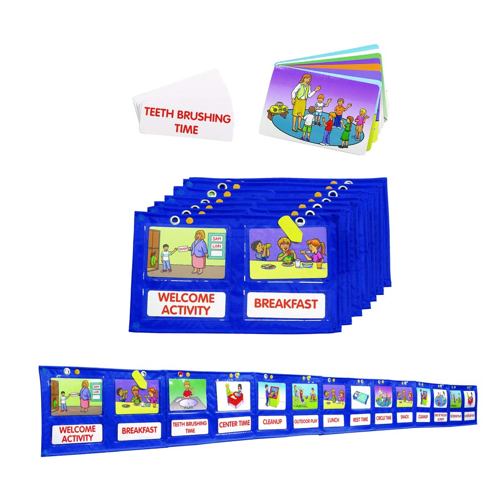 Colorations Daily Visual Pocket Schedule, Class Schedule, 74 Total Pcs, 7 Sections 16''Wx9.5''H ea, 4 Pockets per Section, Color Cards, Blank Cards, Hanging, Day Care, Preschool, Planning (Item # Look)