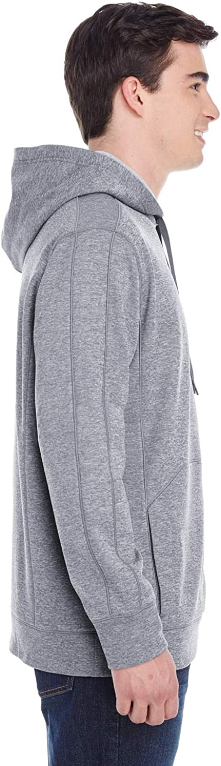 Champion mens 5.4 oz. Perfor Colorblock Pullover Hood (S220) Slate Grey Heather