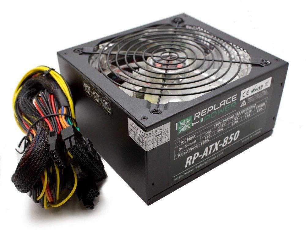 Replace Power® RP-ATX-850W-RD 850W ATX Power Supply Red LED SATA 12V PCI-E