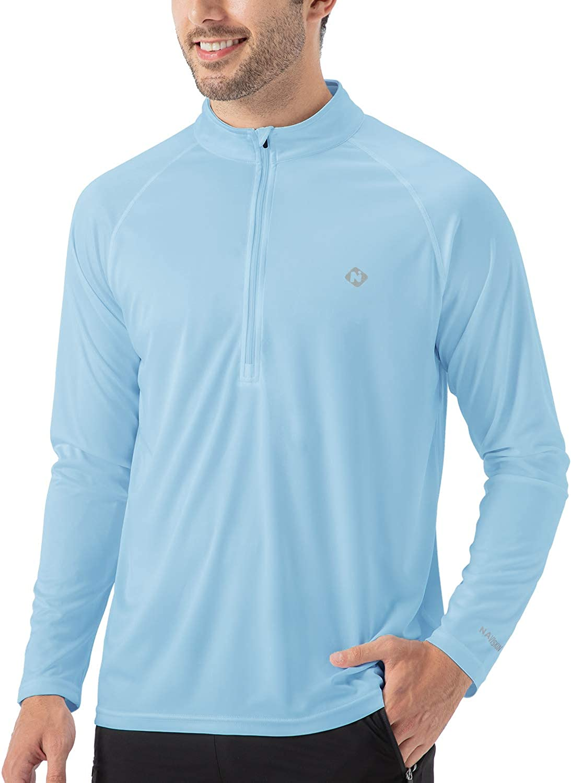 UV Half Zip Pullover Long Sleeve Running Outdoor Breathable Shirt Mesh Line Vent Naviskin Mens Sun Protection UPF 50