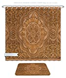 Minicoso Bathroom Two-Piece Suit: Shower Curtain and Bath Rug Details Of A Fine Wood Carving Art An Islamic Art And Craft, 71''W x 79''H_31''W x 20''H