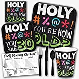 Holy Bleep You're 30 Years Old Funny Birthday Theme Party Supply Set - Serves 8 Guests