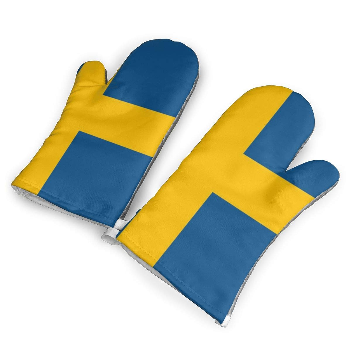 VshiXzno Sweden Swedish Flag Oven Mitts,Professional Heat Resistant to 500¡« F,Non-Slip Kitchen Oven Gloves for Cooking,Baking,Grilling,Barbecue Potholders