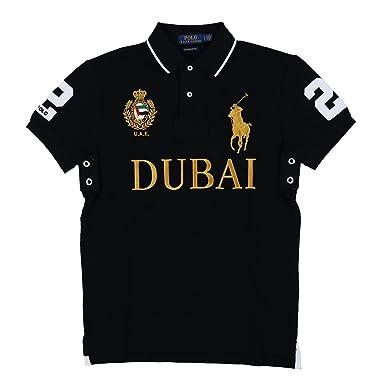 Polo Ralph Lauren Mens Big Pony City Custom Mesh Polo (Polo Black Dubai,  Large