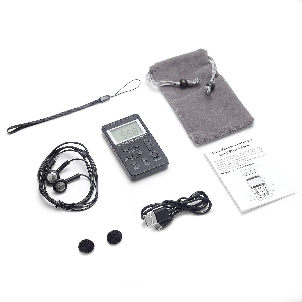 Pocket Radio Flyoukki, Mini Am/Fm Portable Digital Radio Best Reception, Earphones, Small Velvet Bag, Lanyard Rechargeable Battery Emergency, Sport, Walking & Traveling (Black) by Flyoukki (Image #2)