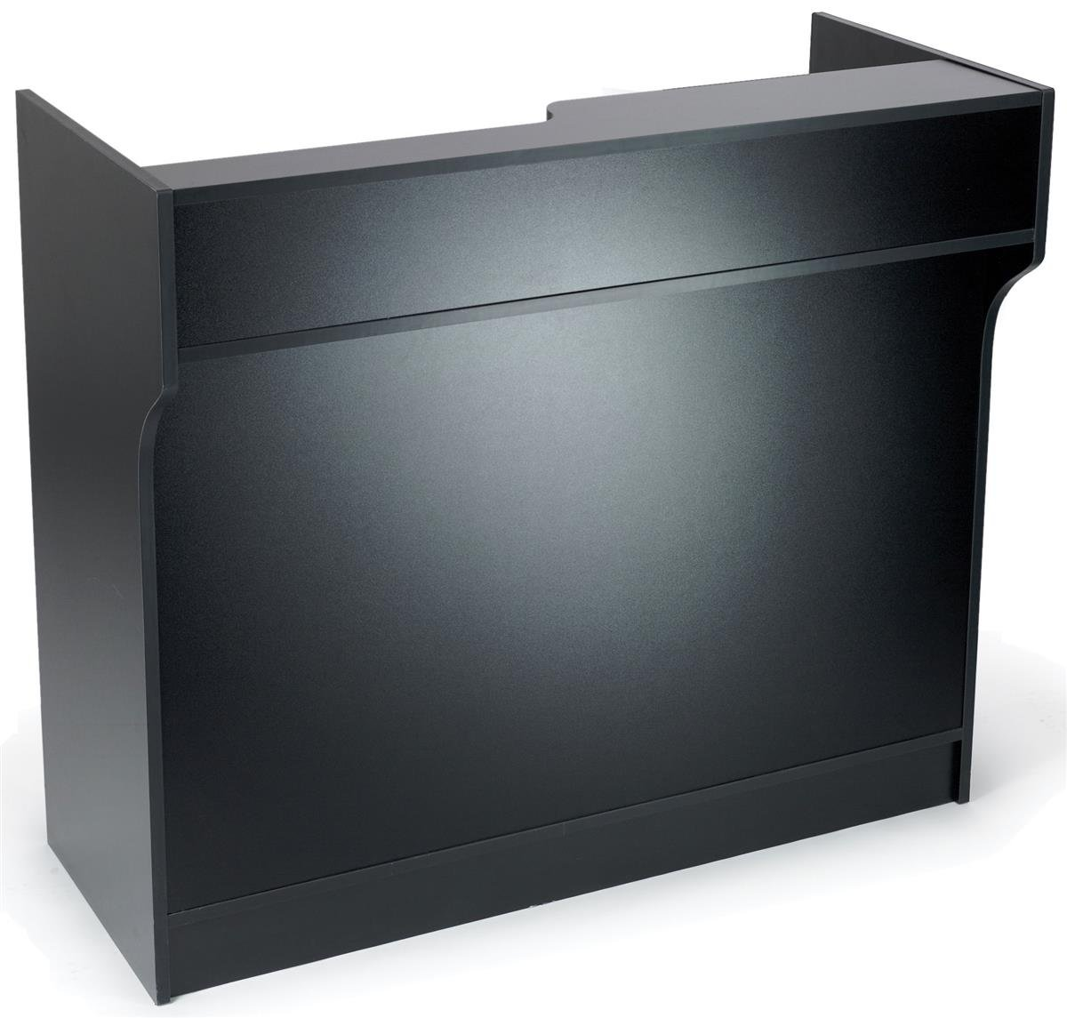 Free-Standing Black Melamine Register Stand, with Adjustable Shelves, Pull-Out Drawer, and Check Writing Area by Displays2go