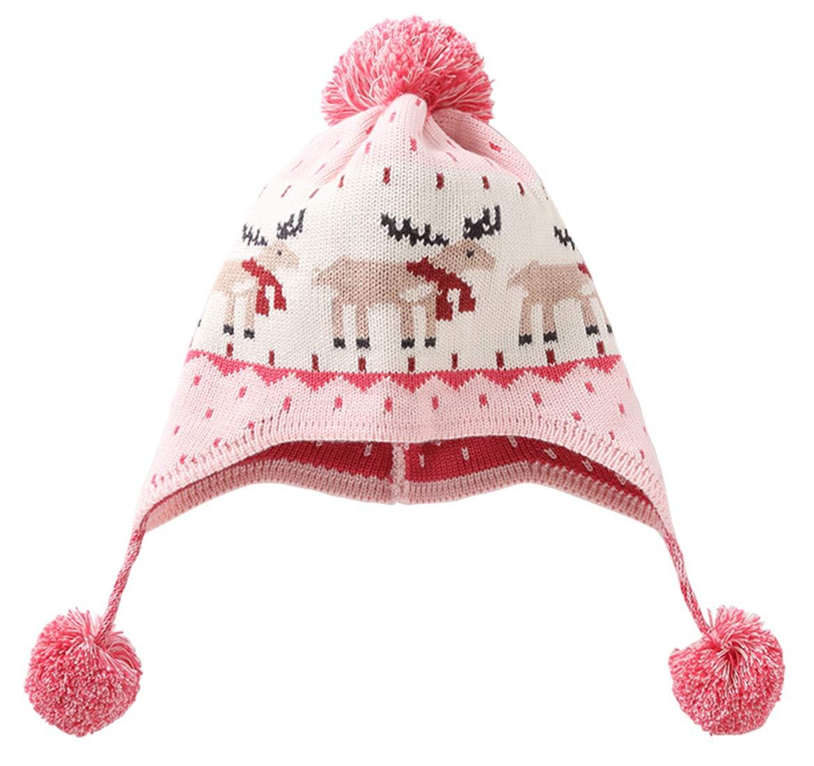 85405cdd80962 RUHI Crochet Baby Beanie Earflaps Cap Little Girl Boy Knit Deer Jacquard Hats  Winter Warm Cap Lined Polyester Pink for Christmas 4-8T