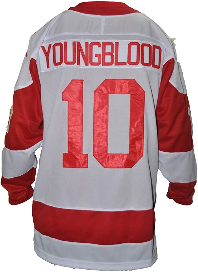#10 Youngblood Movie Hamilton Mustangs Hockey Jersey Stitch Light