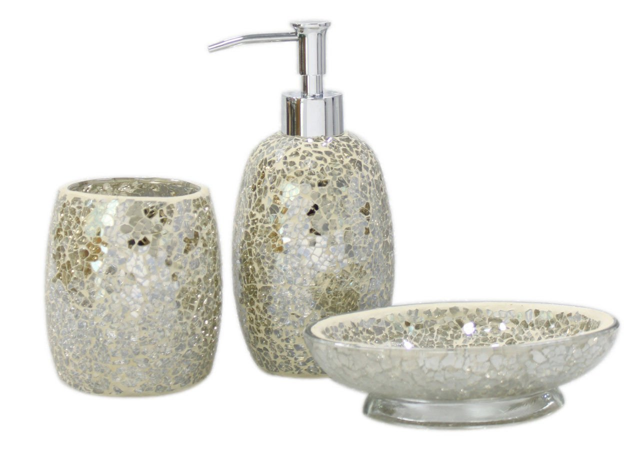 3pc modern mercury sparkle mosaic glass tile bathroom accessory set accessories amazoncouk kitchen home
