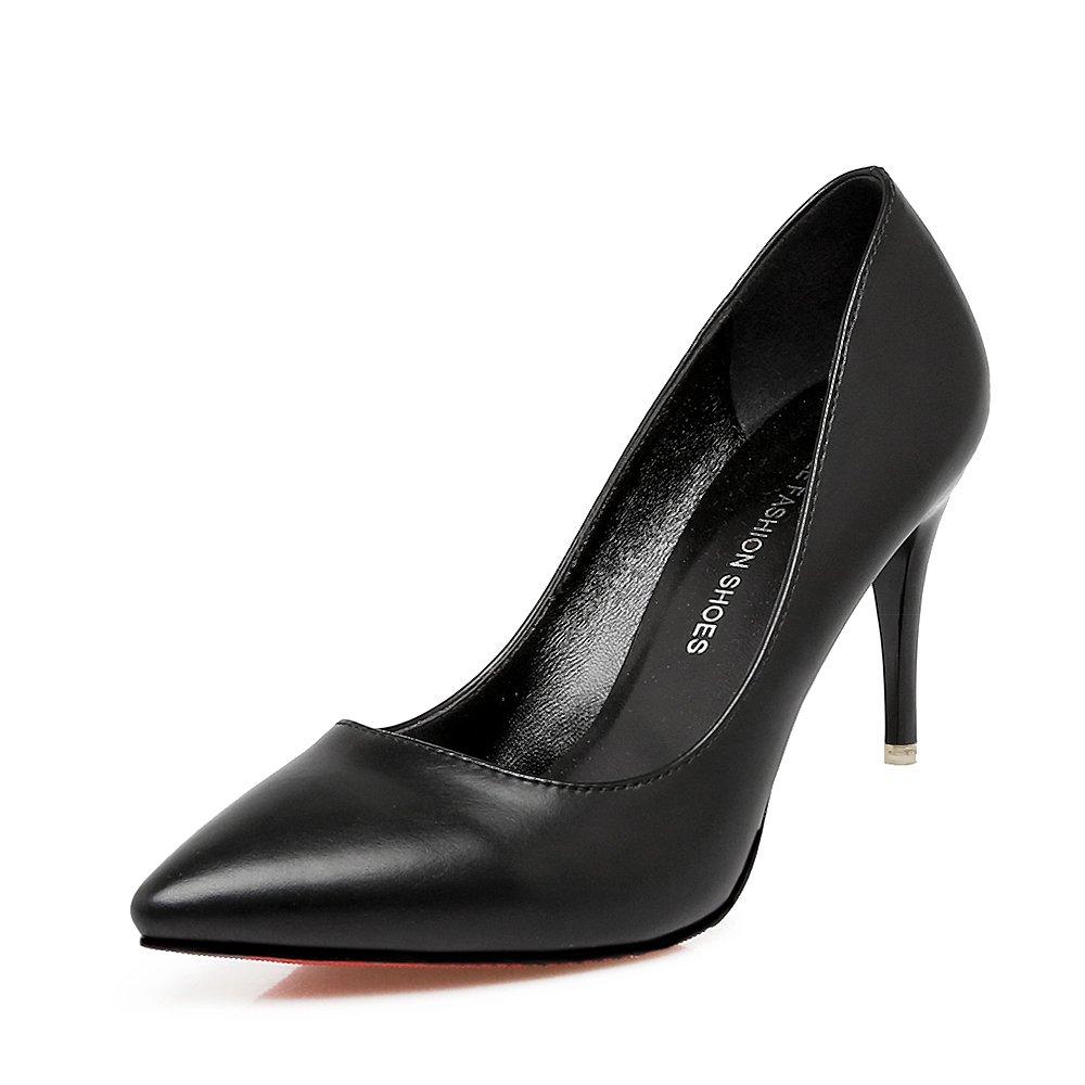 Xue Heels Qiqi Tipp High Heels Xue Mädchen fein mit wilden Lack Leder Schuhe in der Gemeinschaft mit dem Licht einer einzigen Schuh, 35, Schwarz [7 cm] - a350af