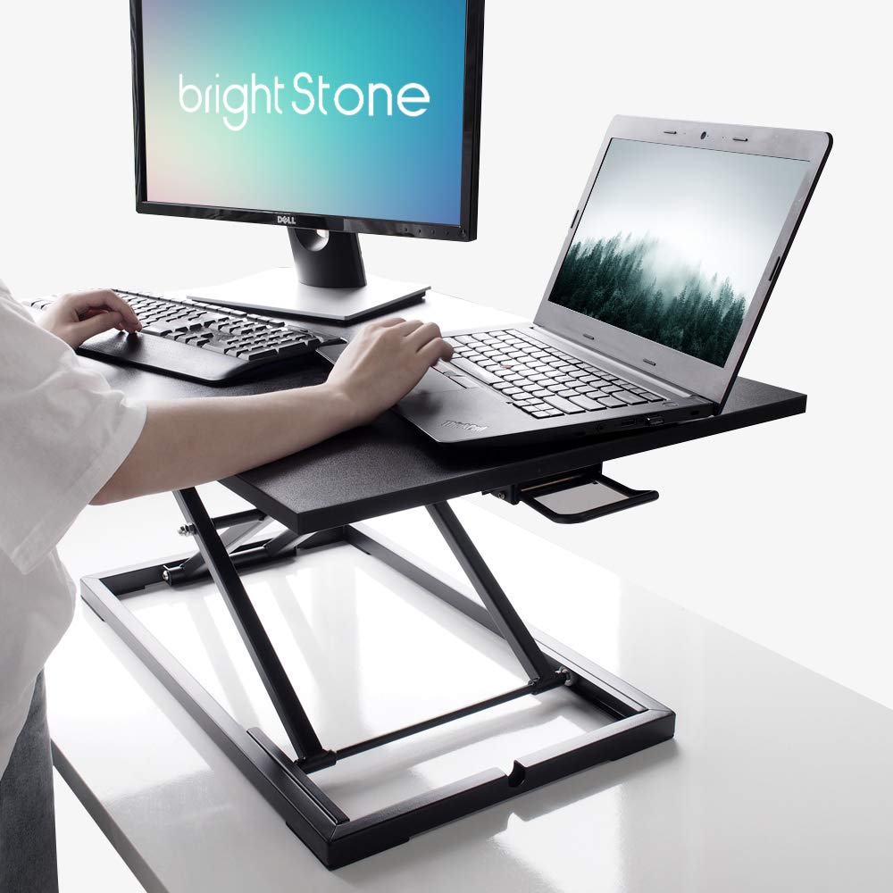 Standing Desk,Height Adjustable Standing Desk Converter, 20.1×31.5 Inch Work Area, Fully Assembled (Black) by BRIGHT STONE