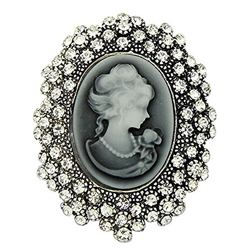 Reizteko Animal Brooch for Women Men Rhinestone Crystal Brooch Pins Silver Plated (Valentines Day Gift) (Cameo Queen)