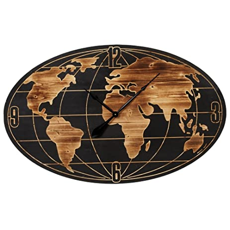 Amazon midwest large 42 inch oval globe art earth world map midwest large 42 inch oval globe art earth world map wooden wall clock gumiabroncs Gallery