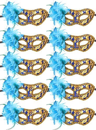 IETANG 10pcs Set Mardi Gras Half Masquerades Venetian Masks Costumes Party Accessory (Pretty Faces For Halloween)