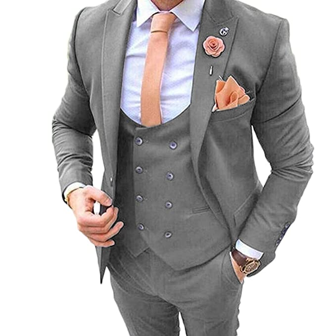 JYDress Mens Double Breasted 3 Pieces Suits Slim Fit Wedding Groom Tuxedos Grey