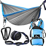 "OUTDRSY Reinforced Camping Hammock Full Set 550lbs Capacity, 118"" x 78"" Double Size Tree Hammock, Compact 210T Nylon Parachute Hammock with Set of Widened Tree Straps & Carbon Steel Carabiners"