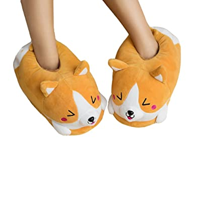 2e8ff7c951a Winter Warm Full Foot Slippers Plush Corgi Dog Slippers Shoes for Women   Amazon.co.uk  Shoes   Bags
