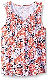 Scout + Ro Little Girls\' Pleated-Front Printed Top, Dark Coral, 5