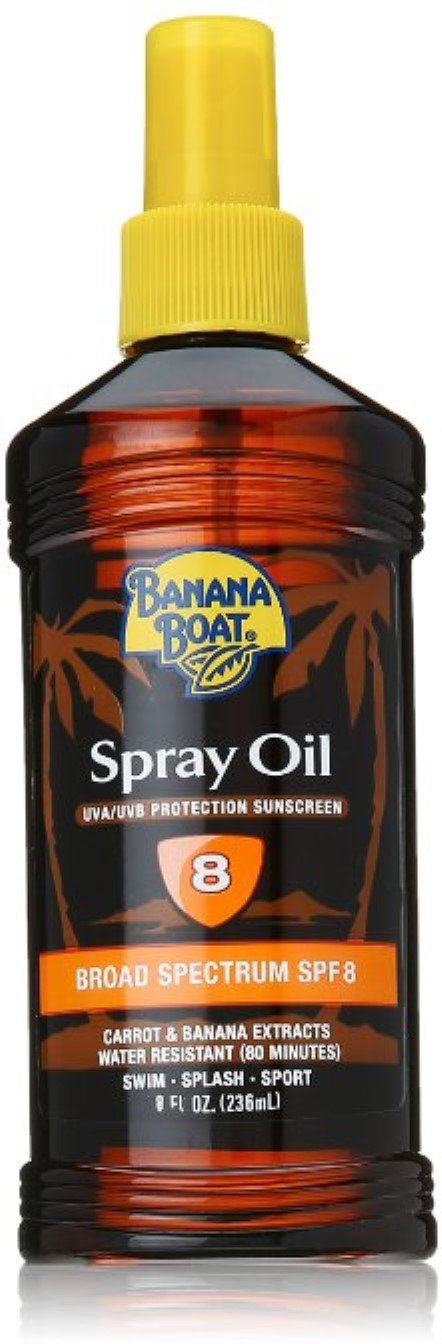 Banana Boat Spray Oil UVA/UVB Protection Sunscreen, SPF 8, 8 oz (Pack of 12)