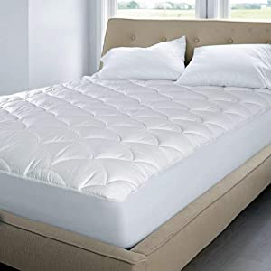 Blue Ridge Home Fashions 350 Thread Count Cotton Damask Dual Action Mattress Pad, Full, White