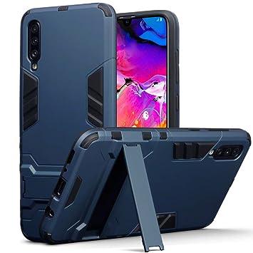 TERRAPIN Funda para Samsung Galaxy A70 Carcasa Híbrida de Silicona + Polycarbonato Doble Resistencia, y Soporte para Mesa - Azul Oscuro