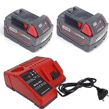 Boetpcr 2x M18 18V 5.0Ah reemplazo de iones de litio Reemplazo para Milwaukee M18 48-11-1840 48-11-1850 48-11-1852 bater/ías de herramientas inal/ámbricas