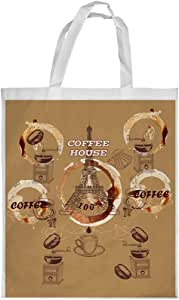 coffee house Printed Shopping bag, Medium Size