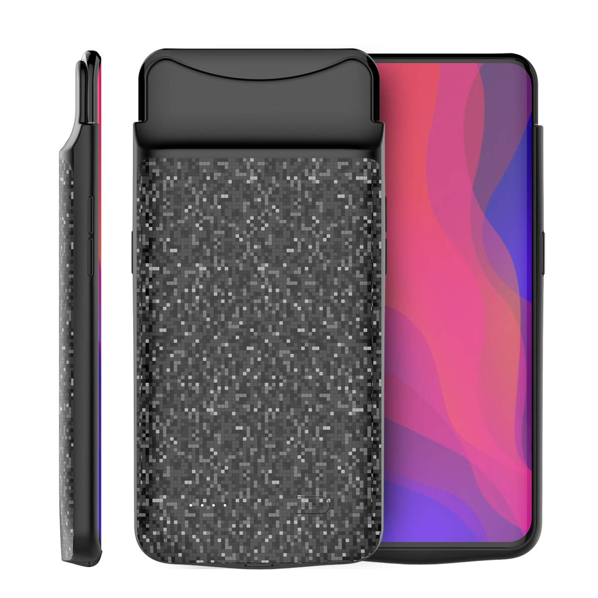 Torubia Oppo Find X Charger Case, Ultra Thin Backup External Battery Charger Case Rechargeable Power Bank Case,Portable Backup Power Bank Case Compatible with Oppo Find X -