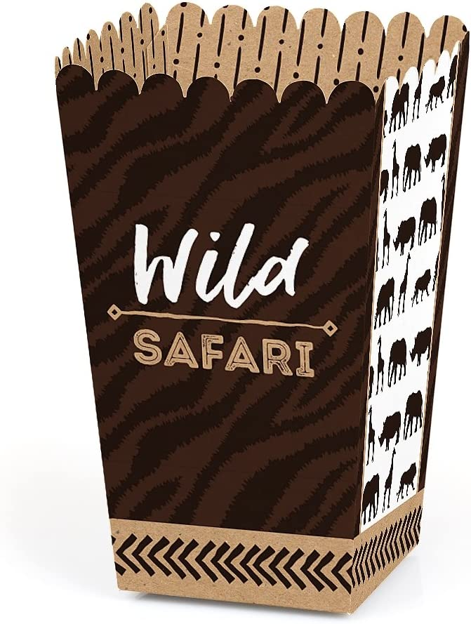 Wild Safari - African Jungle Adventure Birthday Party or Baby Shower Favor Popcorn Treat Boxes - Set of 12