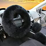 3Pcs Set Womens Winter Fashion Wool Fur Soft Furry Steering Wheel Covers Black Fluffy Handbrake Cover Gear Shift Cover…
