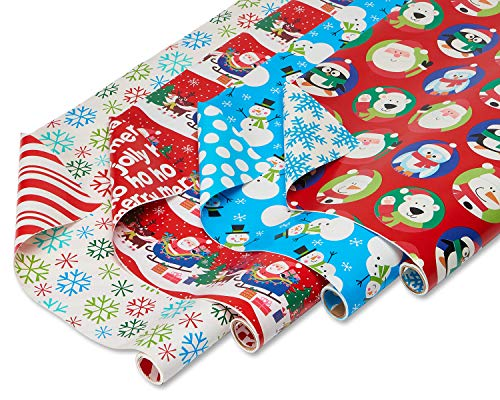 American Greetings Christmas Reversible Wrapping Paper, Santa, Snowflakes, Snowmen and Characters, 4-Rolls, 160 Total Sq. Ft. -