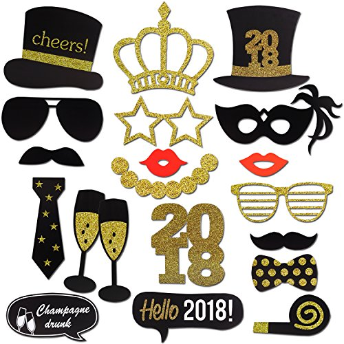 2018 New Years Photo Booth Props Kit(20Pcs), Konsait Funny New Years Eve Party Photo Booth with Stick for Adult Kids Women Man Party Accessories for 2018 New Year Party Decor - Printables Sunglasses