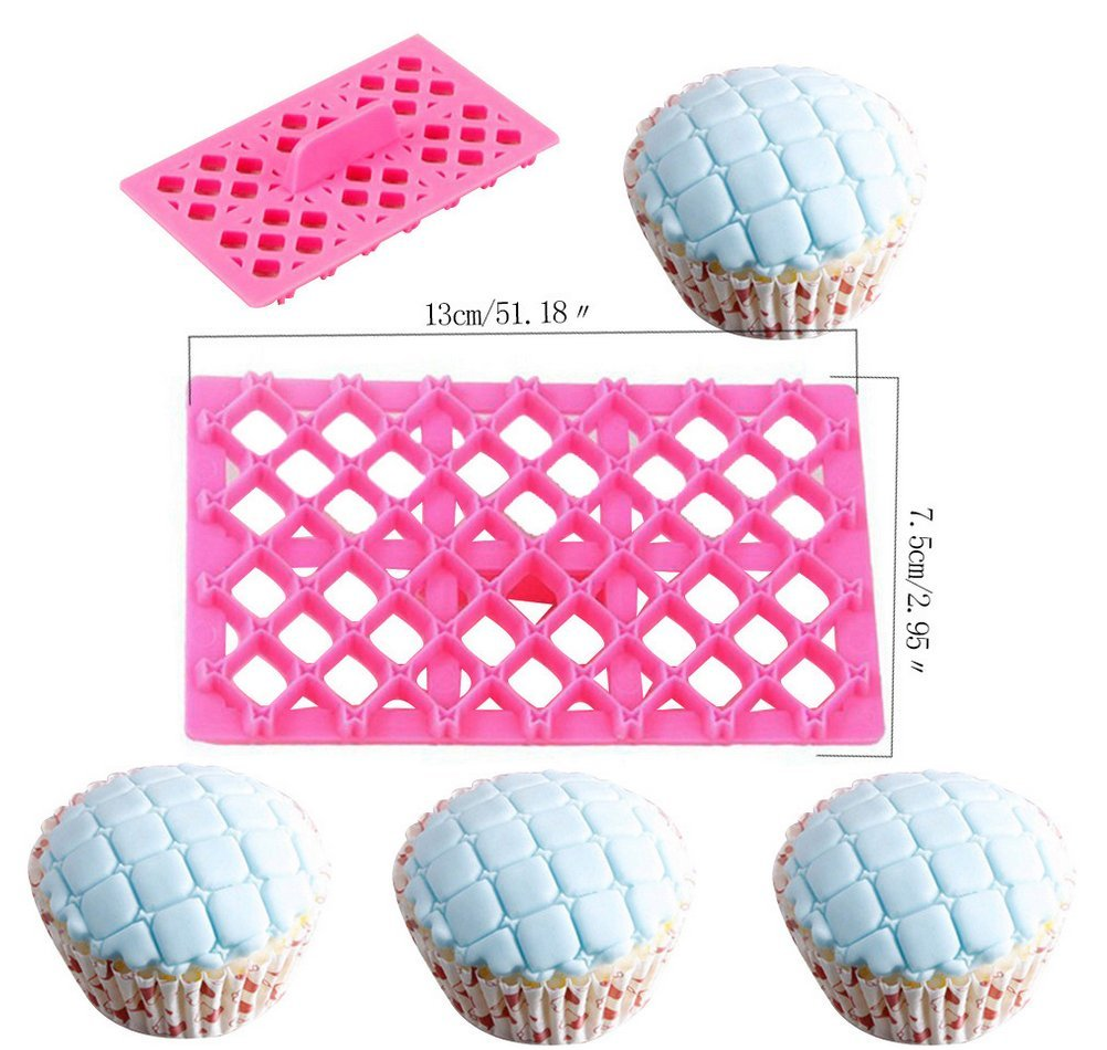 Cake Fondant Embossing Mould,9 Pack Different Patterns Fondant Embosser,Lace Flower Cookie Cutter Set,Diamond Shaped Biscuit Molds,Cake Fondant CupCake Decorating by Mity rain (Image #3)