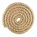1-1/4 Inch Diameter Tan Natural Hemp Fiber Manila Rope – Available in Lengths of 10, 25, 50, 100 Feet