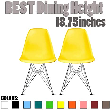 Outstanding 2Xhome Set Of 2 Yellow Desk Chair Mid Century Modern Plastic Molded Shell Assembled Chairs Chrome Wire Metal Eiffel Side Armless No Arms Dsw For Work Alphanode Cool Chair Designs And Ideas Alphanodeonline