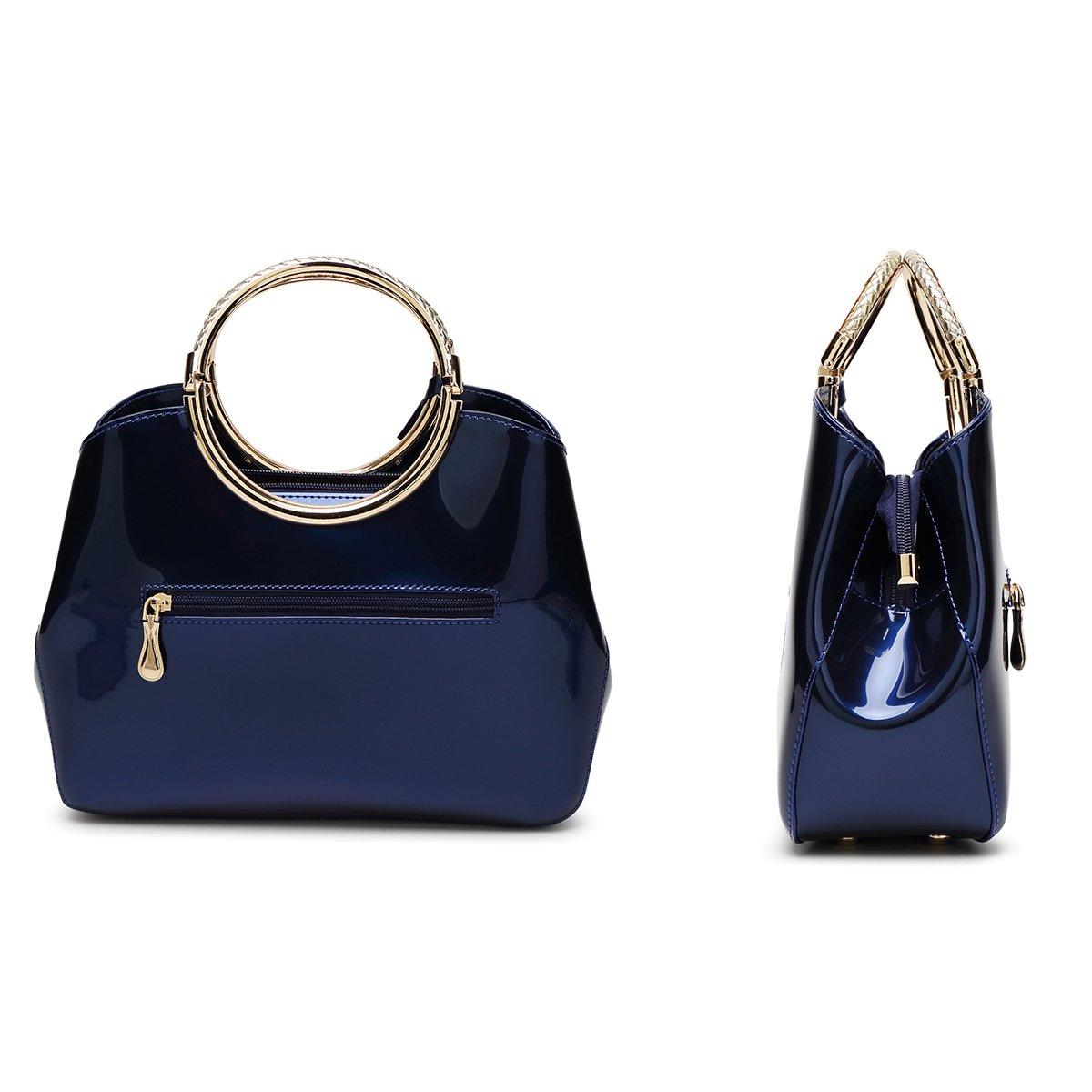 c7f4db8a72c0a Coolives Damen mit Langer Schultergurt PU Lackleder Golden Ring Griff  Handtasche Blau CLuk-1301 größeres Bild
