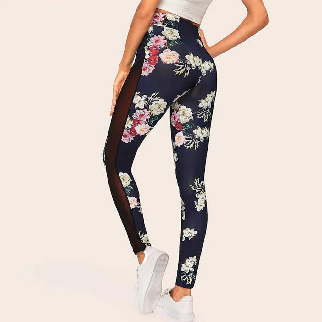 Womens High Waist Floral Print Yoga Pants Sports Trousers Side Mesh Slim Ultra Soft Lightweight Breathable Capris Fitness Leggings Running Gym Stretch