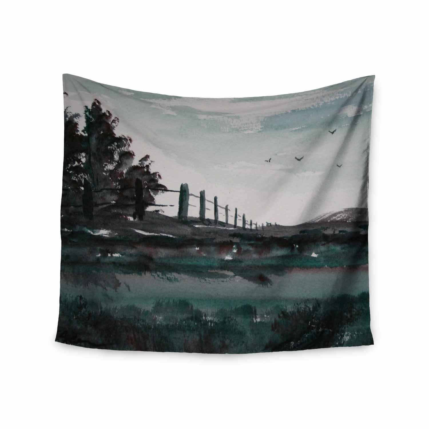 Kess InHouse Cyndi Steen Along The Fence Gray Blue Watercolor Wall Tapestry