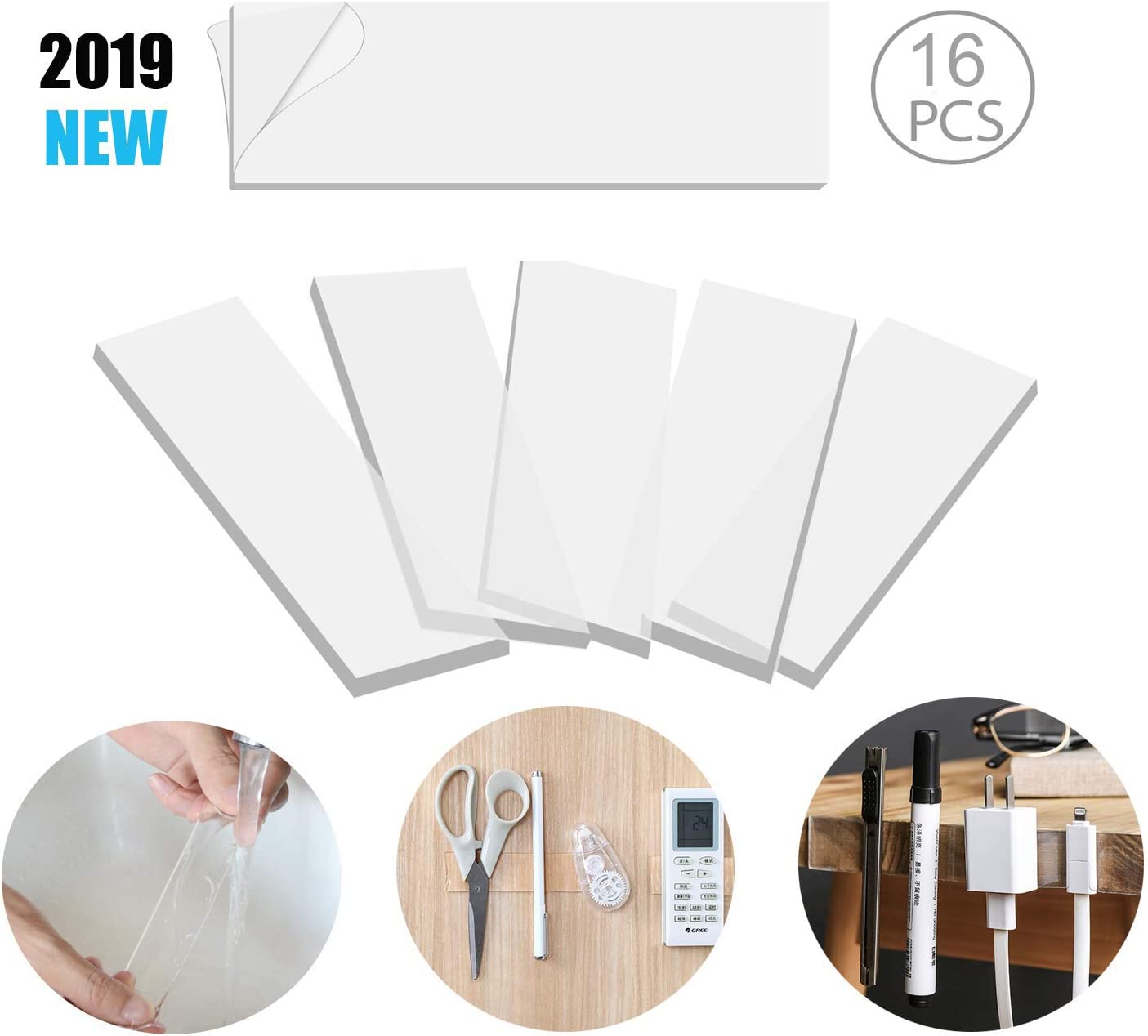 16PCS Removable Wall Mounting Sticky Gel Tape Washable Traceless Transparent Tape for DIY Craft Home Office Carpet Rug Couch Cushion Gripping BRAVESHINE Double Sided Adhesive Strips 1.2x4 Inch
