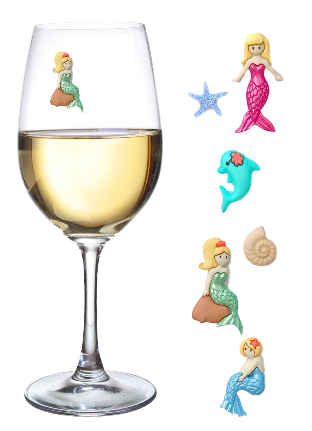 Mermaid Magnetic Wine Charms and Glass Markers Set of 6 - Great Mermaid Gift for Women by Simply Charmed