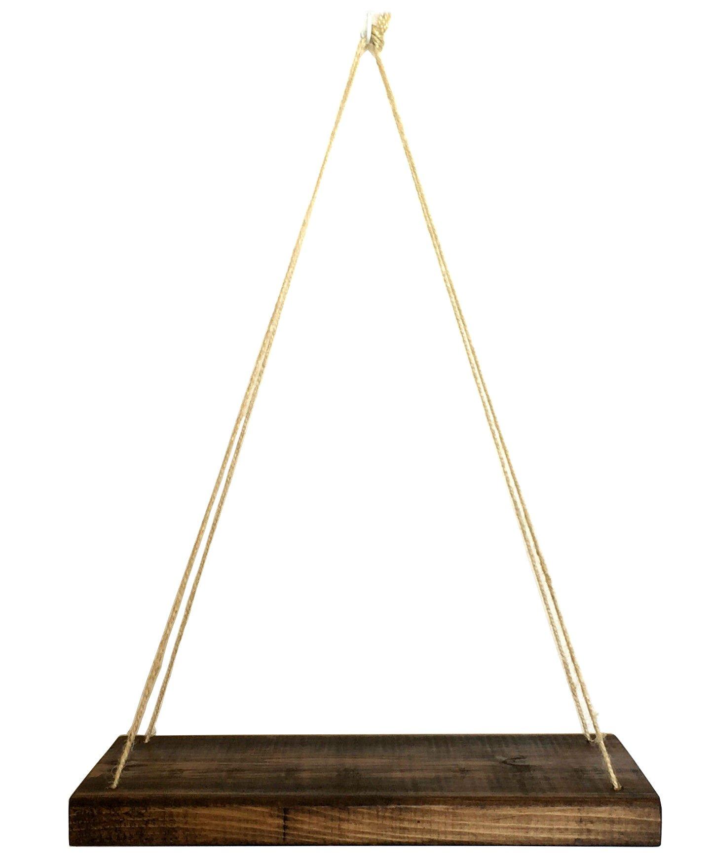 Hanging Shelf - Solid Cedar Wood Swing Shelf (10inch, Espresso)