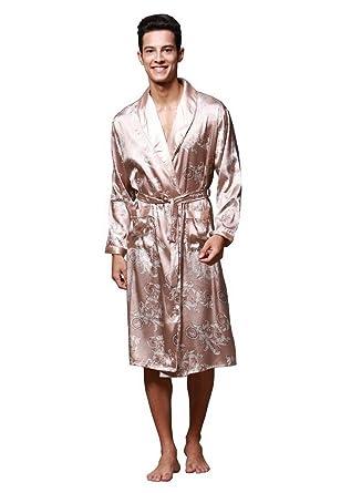 Men s Kimono Robe Knee Length Lightweight Floral Bath Sleepwear Satin  Bathrobe Robe  Amazon.co.uk  Clothing d76cd9f01