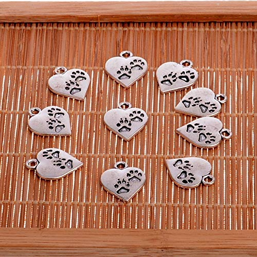 Cell's world - 10PC Dog Footprint Feet Paws Heart Silver Plated Tone Charms Pendants Bracelet Necklace Jewelry Making Accessories DIY Xmas Gift