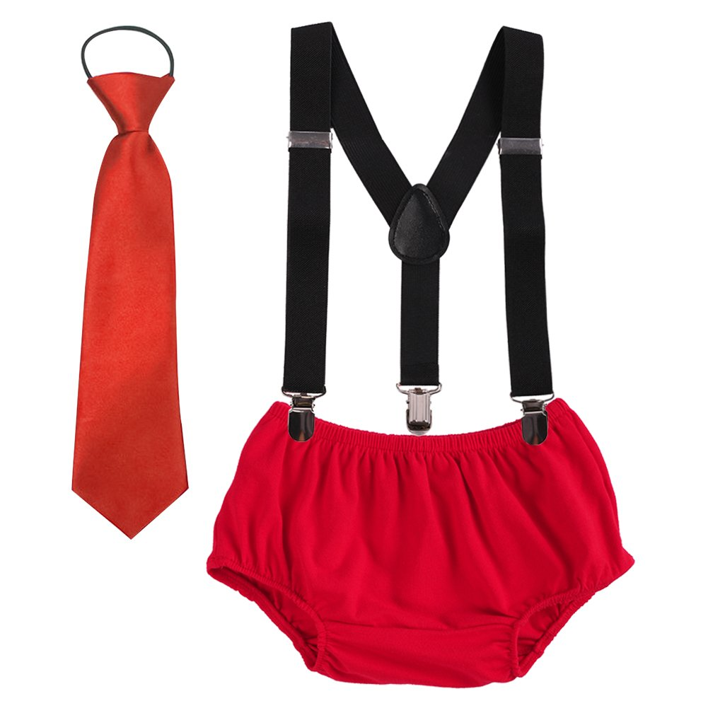 Baby boys Suspenders Bloomers Necktie Set, Adjustable Y Back Clip Kids Boutique Cake Smash Outfits Black + Red One Size