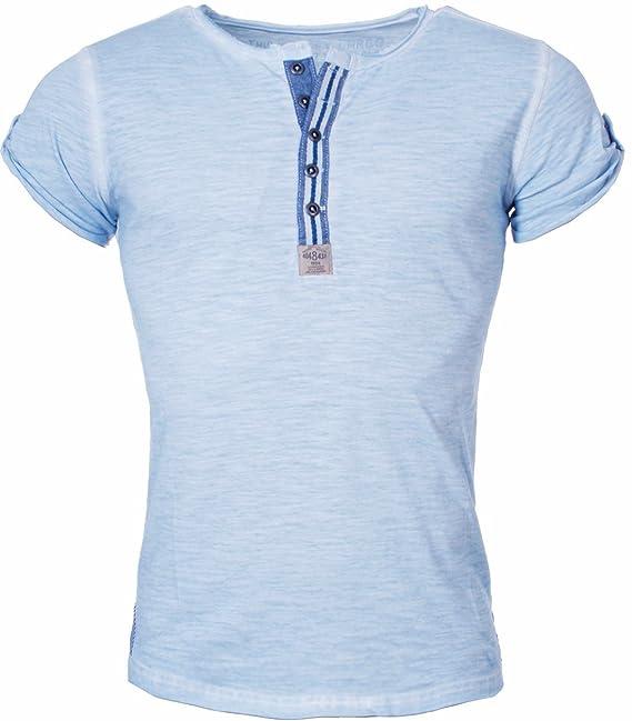 Key Largo Camiseta Hombre Arena Con Tira Botones Henley Vintage Aspecto Usado óptica Botón border Slimfit
