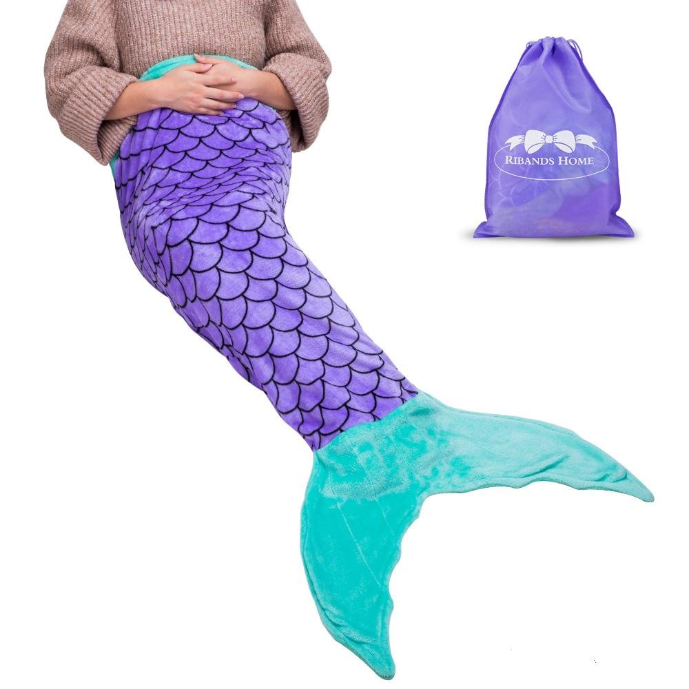 RIBANDS HOME Mermaid Tail Blanket for Kids, Flannel All Seasons Sleeping Bag, Super Soft and Warm, Best Gifts for Girls (Ages 3-18 Purple & Aqua)