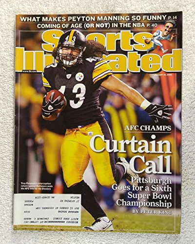 2009 Sports Illustrated Cover - Troy Polamalu - The Pittsburgh Steelers win the AFC Championship - Sports Illustrated - January 26, 2009 - NFL Playoffs - Regional Cover - SI