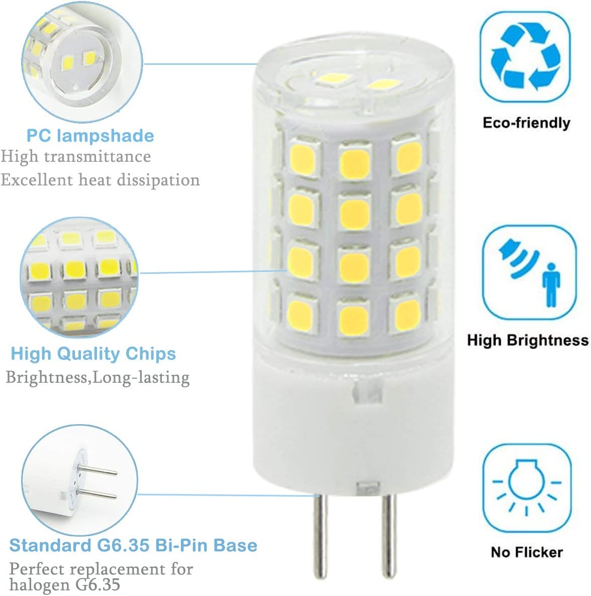 XIX 5-Pack 12V 4W G6.35 LED lampadina Bi-Pin Base 40W Equivalente Lampadina G6.35/GY6.35 LED Bianco Caldo 3000K [Classe di efficienza energetica A+] 5.1 Watt