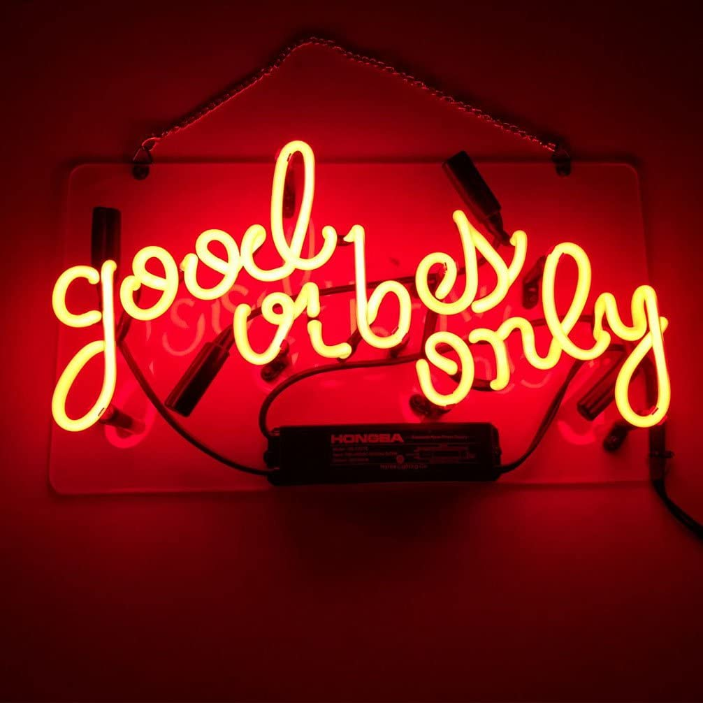 """LiQi ' Good Vibes ONLY' Real Glass Handmade Neon Wall Signs for Room Decor Home Bedroom Girls Pub Hotel Beach Cocktail Recreational Game Room (14"""" x 8"""",RED)"""